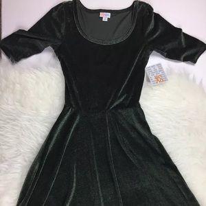 LuLaRoe Elegant Nicole Dress Green Velvet XS NWT